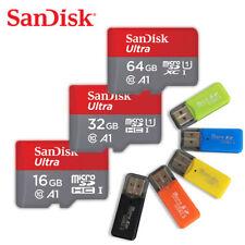 SanDisk 16GB 32GB 64GB Micro SDHC SDXC A1 UHS-I C10 TF Card + Random Card Reader