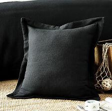 New 100% cotton Luxury Waffle European Cushion cover Standard Pillowcase Black