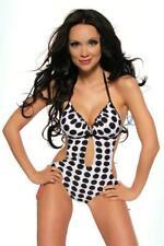 Monokini Femminile Costume intero nero bianco Mare pois piscina ruches uy 12556