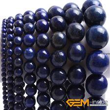 "Blue Lapis Lazuli Gemstone Round Beads For Jewelry Making 15"" 6mm 8mm 10mm 12mm"