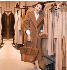 Womens Teddy Lamb Fur Lapel Jacket Winter Warm Loose Outwear Parka Outwear Coat