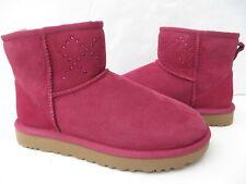 UGG Womens Boots 7 8 Classic Mini Crystal Diamond NEW 1017228 NIB OX Blood Pink