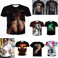 Hot Mens 3d print Summer Short Sleeve Casual Slim Fit T-Shirts Graphic Tee Shirt