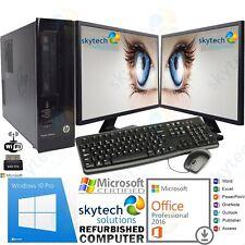 Fast Dell HP desktop di Windows 10 PRO COMPLETA PC COMPUTER MONITOR 2X Office Pro 2016