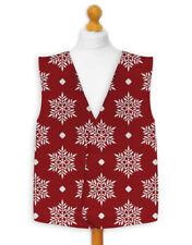 Christmas Novelty Waistcoat Fun Fancy Dress Informal Snowflake Pattern Red/Blue