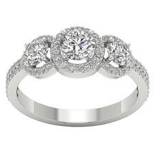 SI1 H Genuine Diamond 1.60Ct Three Stone Halo Anniversary Ring 14Kt White Gold