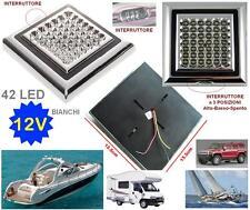 LAMPADA FARETTO o PLAFONIERA a 42 LED BIANCHI 12V 5W BARCA CAMPER AUTO ROULOTTE