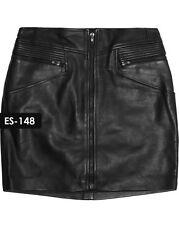 Leather Skirt - Genuine Soft Leather Front Zipper Mini Skirt