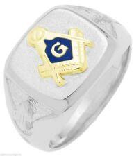 Men's Solid Back Sterling Silver Gold Masonic Freemason Mason Ring