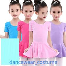 Girls Ballet Tight Tutu Bodysuit Leotard With Ruffled Skirt Dance Dress 3-8Y 3CO