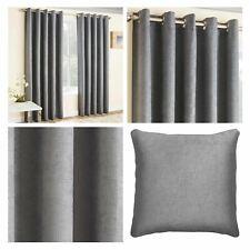Grey Eyelet Curtains Silver Thermal Blockout Energy Saving Ring Top Curtain Pair