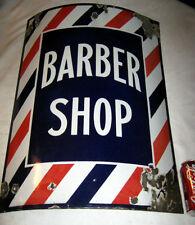 # 2 ANTIQUE HEAVY PORCELAIN STEEL BARBER SHOP PATRIOTIC BARBER SHOP LG ART SIGN