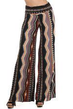 New Plus Size Mocha Brown Tribal Wide Flare Leg Palazzo Boho Silky Pants