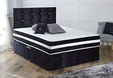 MEMORY CRUSHED VELVET DIVAN BED + MATTRESS + HEADBOARD 3FT 4FT 4FT6 Double 5FT