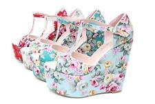 Womens Summer Wedge High Heels Retro Floral Bohemia Platform Shoes Sandals W305