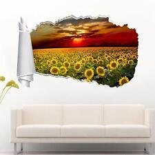 Sunflower Field Sunset 3D Torn Hole Ripped Wall Sticker Decal Decor Art WT169