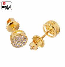 Women's Men's Micro Pave Lab Diamond  6mm Round Shape Screw Back Earrings 5119