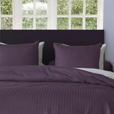 HnL Bettwäsche Streifen Satin UNI Vintage Purple lila Baumwolle Reißverschluss