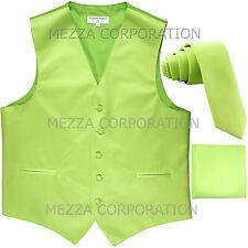 "New Men's Vesuvio Napoli Tuxedo Vest 2.5"" Skinny Necktie set party Lime Green"