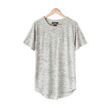Men's Extended Long Line T-Shirt Short Sleeve Hip Hop Pocket Tee S M L XL