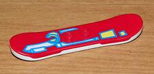 LEGO - Minifig Utensil Snowboard Red w/ Blue/White/Yellow Pattern - White Bottom