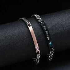 Hommes Et Femmes Acier Inoxydable  Bracelets De Couple Sa Reine Son Roi