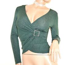 MAGLIETTA donna VERDE maglia incrociatina maniche lunghe sottogiacca lurex G99