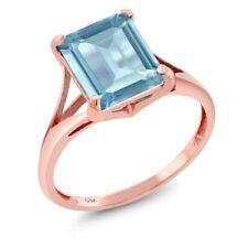 4.00 Ct Octagon Sky Blue Topaz 14K Rose Gold Ring