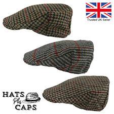 British Tweed Flat Cap Houndstooth Grandad Hat Check 100% Wool