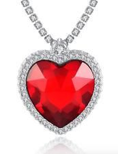 (JW029) Large Heart-Shaped Coloured Pendant & Necklace