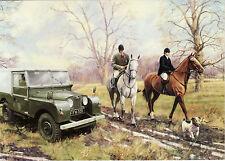Land Rover Landrover metal hard top Motoring art card horse riders terrier dog