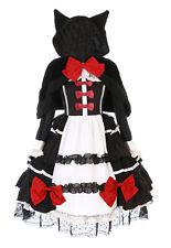 JL-657-1 Kleid Cape Katzenohren Schleife Rüschen Gothik Lolita Cosplay Kostüm