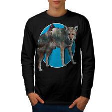 Wolf Bestia Naturaleza Animal Hombre Manga Larga T-shirt new   wellcoda