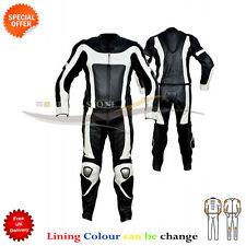 deux pièces moto costume cuir en noir et Blanc Autour de fermeture BOSSE armures
