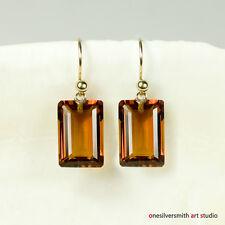 Pure 18k 14k Gold Emerald Cut Madeira Citrine Designer Earrings Hook & Leverback