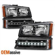 2003-06 Chevy Silverado Avalanche Black Headlights + LED Bumper Turn Signal Lamp