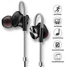 Genuine Non-Slip Handsfree Wired Headphones Earphones Earbud with Mic-Black