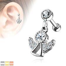 Crystal CZ Angel Dangle Cartilage Upper Ear Stud Earring Helix Bar 1.2 x 6mm