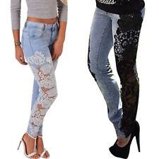 Damen Spitz Hollow Hose Jeanshose Röhrenjeans Damenjeans Stretch Leggings Pants