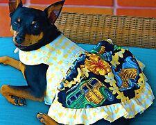 Woodies Surfer Wagon Print,Yellow Dog Dress XXS-M USA Made  Dogs, Puppies, Cats