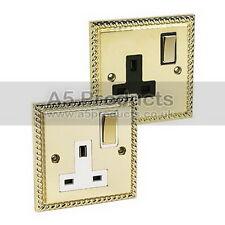13 Amp Wall Single Plug Socket 1 Gang Polished Mirror Brass GEORGIAN Style Plate