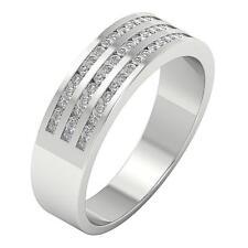 Natural Diamond Men's Engagement Wedding Ring I1 H 0.60Ct White Gold Channel Set