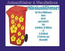Aufkleber Mülltonne Auto Boot Wand 12 Hibiskusblüten in 3 Größen 2 Farben wählba