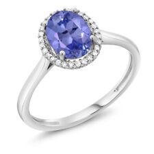 10K White Gold Diamond & Oval Blue Tanzanite Women's Ring 1.16 Cttw)