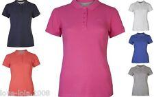 Womens Polo T-Shirts Pique Tops Short Sleeved Sportswear Golf Tennis Gym