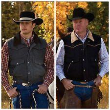 Wyoming Traders Mens Nevada Snap / Zip Up Wool Elastic Waist Western Cowboy Vest