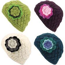 Knit Beanie Sombrero de lana para mujer caliente de invierno señoras de Cable de punto forrada de Flores