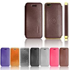 100% Genuine Premium UNICO Leather Flip Wallet Case Cover For iPhone 5 5S 4S 4
