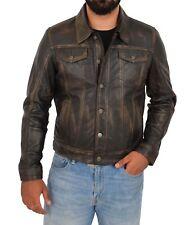 Homme TRUCKER Veste en cuir vintage Rub Off American Western Denim Style Manteau
