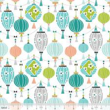 SKY LANTERNA LUCI FESTA PANDA-RAMA Blu Quilting Craft Tessuto di Cotone Misto